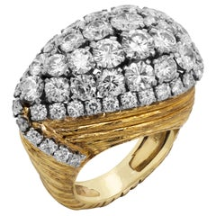 David Webb 18 Karat Yellow Gold Platinum Diamond Ring