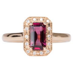 1.08ct Fire Red Emerald Cut Spinel Diamond Halo 14K Rose Gold Engagement Ring