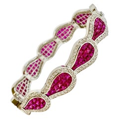 Natural 20 Carat Ruby and Diamond Bracelet Invisible Set