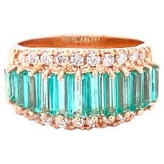 2.61 Carat Emerald Diamond 14 Karat Rose Gold Ring