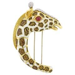 David Webb Kingdom Giraffe Diamond Enamel Brooch