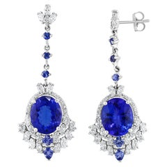 Effy Hematian 18 Karat White Gold Diamond & Tanzanite Earrings
