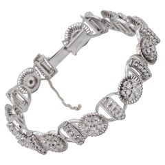 Jabel Antique Filigree Diamond Cluster Bracelet 18K White Gold with Floral Motif