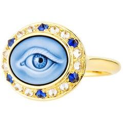 AnaKatarina Customizable Carved Agate Cameo, 18k Gold, Diamonds 'Eye Love' Ring