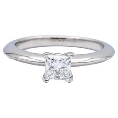 Tiffany & Co. Diamond Engagement Ring .38 Ct Princess Cut Solitaire GVS1 in Plat