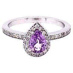 1.02 Carat Pink Sapphire Diamond 14 Karat White Gold Engagement Ring