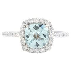 2.05 Carats Natural Aquamarine and Diamond 14K Solid White Gold Ring