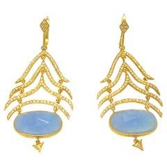 Lauren Harper Blue Jade, Diamonds and 18K Yellow Gold Earrings