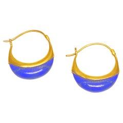 Lauren Harper Lapis Blue and 18K Yellow Gold Hoops