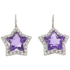Amethyst Diamond Platinum Star Shaped Earrings