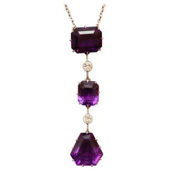Edwardian Amethyst Diamond Gold Pendant