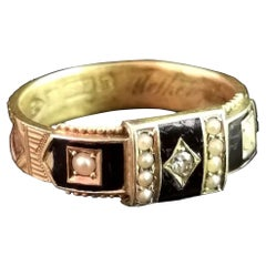 Antique Victorian Mourning Ring, 15 Karat Gold, Black Enamel, Diamond and Pearl