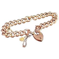 Antique Edwardian 9 Karat Yellow Gold Curb Link Bracelet, Charms