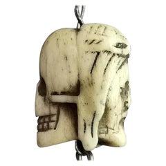Rare Georgian Memento Mori Pendant, Skull and Jesus, 18th Century, Bone