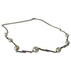 9ct 375 White Gold Vintage Pearl Necklace