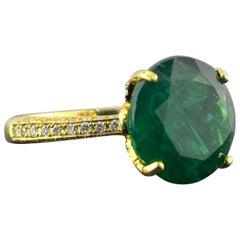 6.70 Carat Round Emerald and Diamond Engagement Ring