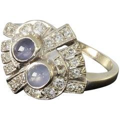 Star Sapphire Diamond Gold Cluster Ring
