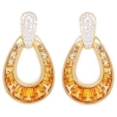 18 Karat Gold Calibre Cut Citrine Baguette Diamond Dangle Drop Earrings