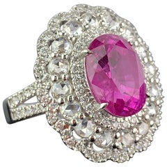 Certified 6.24 Carat Oval Shape Ruby and Diamond Cocktail Ring