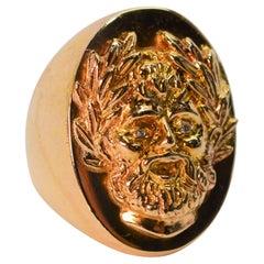 14K Yellow Gold Roman Signet Unisex Ring w Diamond Accents