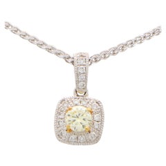 Yellow Diamond Cluster Pendant Set in 18k White and Yellow Gold