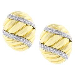 David Webb Large Fluted Diamond Earrings