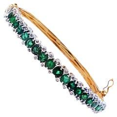 2.10 CTW Emerald Diamond Bangle Bracelet Platinum and 14 Karat Yellow Gold