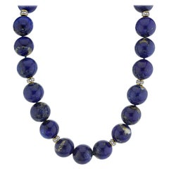 Round Natural Lapis Bead Yellow Gold Necklace