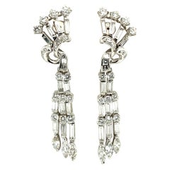 Very Chic Art Deco Style Diamond Earclips in Platinum 950