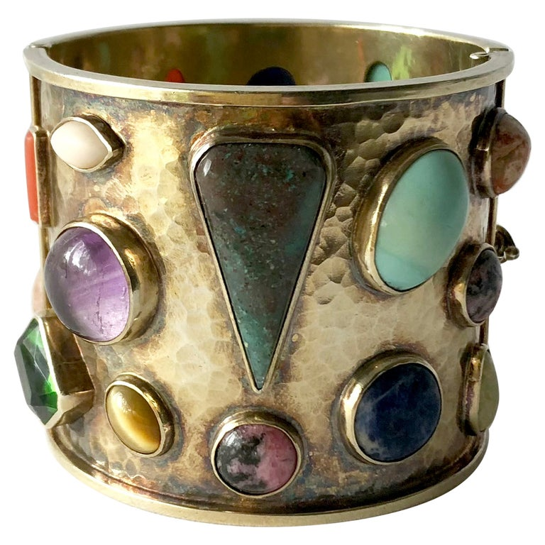 Celia Harms Sterling Silver Vermeil Semi Precious Gemstone Hinged Cuff Bracelet For Sale