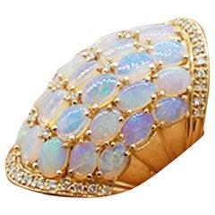Ethiopian Opal Opal Cluster & Diamond Dome Ring 14 Karat