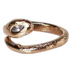 Snake Ring Victorian Style Aquamarine Ruby Bronze J Dauphin
