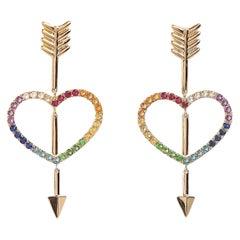 Maria Kotsoni, 18K Yellow Gold Rainbow Gemstone Heart & Arrow Dangle Earrings