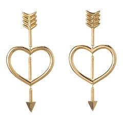 Maria Kotsoni- Contemporary Articulated 18K Yellow Gold Heart & Arrow Earrings