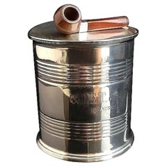 Rare Antique Sterling Silver Tobacco Box, Tin Can and Pipe, Edwardian