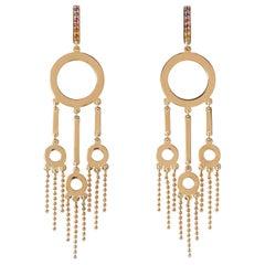 Maria Kotsoni, Contemporary 18K Gold & Coloured Gemstone, Long Dangle Earrings