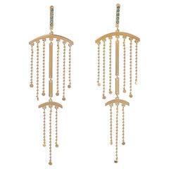 Maria Kotsoni, Contemporary 18K Gold, Blue Topaz Long Chandelier Dangle Earrings