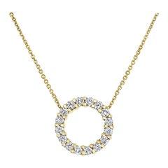 0.40 Carat Diamond Open Circle Karma Necklace in 14K Yellow Gold, Shlomit Rogel