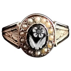 Victorian Mourning Ring, 15k Gold and Black Enamel, Agate Forget Me Not, Pearl