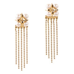 Maria Kotsoni Contemporary 18K Gold & Akoya Pearl Long Ear Jackets Stud Earrings