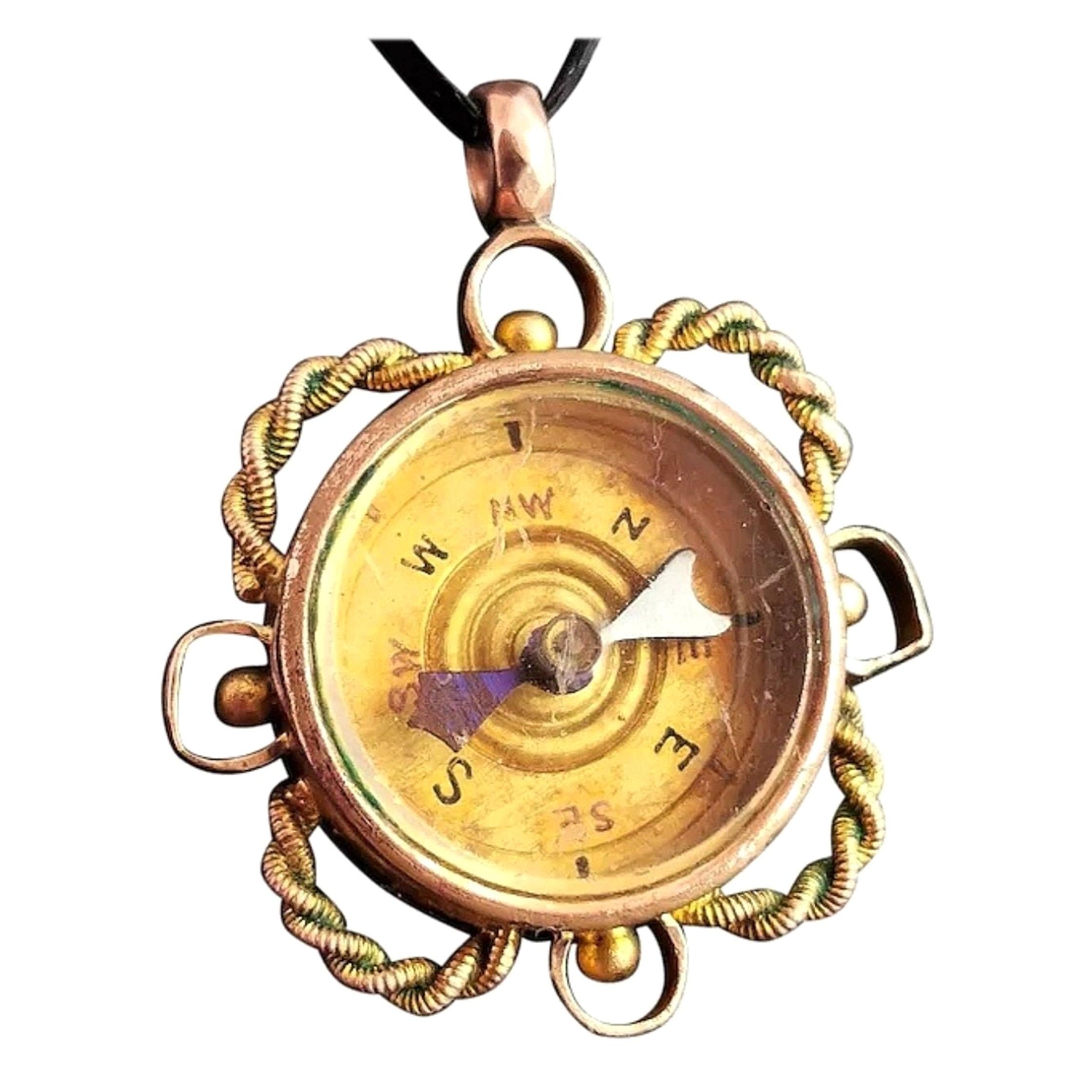 Antique 9 Karat Yellow Gold Compass Pendant, Carnelian Seal Fob