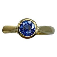 Vivid Blue 1.0ct Ceylon Sapphire Round Diamond Cut 18k Gold Solitaire Ring