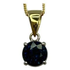 1.42t Deep Blue Sapphire 18k White & Yellow Gold Round Cut Pendant Necklace