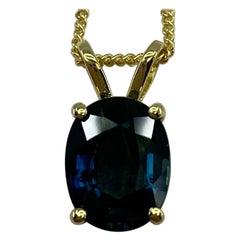 2.40ct Deep Greenish Blue Australian Sapphire 18k Yellow Gold Pendant Necklace