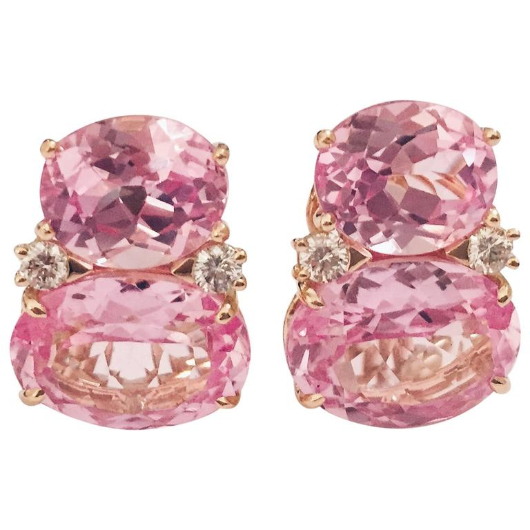 Large GUM DROP™ Earrings with Pink Topaz and Diamonds