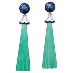 Art Deco Style LapisLazuli Jade Gold Diamond Emerald Blue Enamel Dangle Earrings