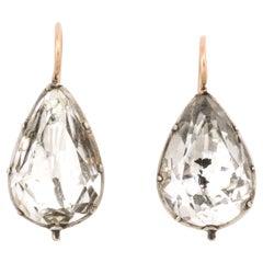 Antique Georgian Large Pear Shape Rock Crystal Earrings
