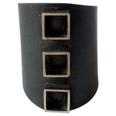 Heidi Abrahamson Oxidized Sterling Silver Modernist Three Square Gentlemens Ring