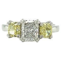 2.02 Carat Fancy Yellow and White Diamond 18 Carat White Gold Engagement Ring