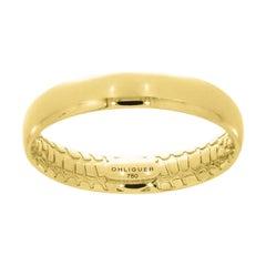The Sunrise Crocodile Band in 18ct Yellow Gold with Crocodile Skin Filigree